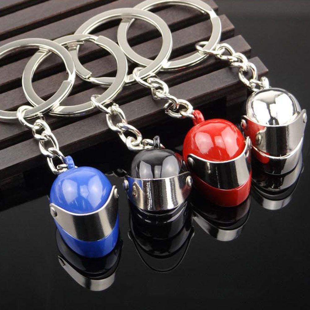 2017 Hot Sale Silver Color Cool Keyring 3D Car Motorcycle Bicycle Helmet Auto Key Chain Ring Keychain High Quality 4 Colors