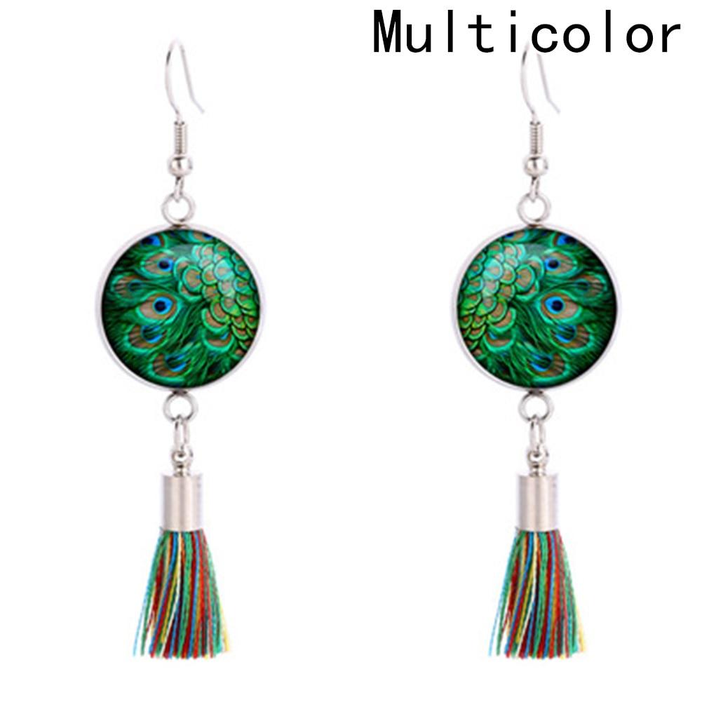 2018 Tassel Dangle Earring Peacock Feathers Glass  Fashion Women Bohemia Drop Earrings Party Jewelry