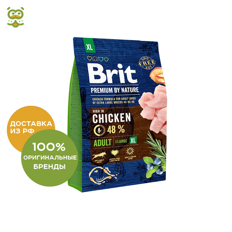 Food Brit Premium by Nature Adult XL Adult Dog giant breeds, Chicken, 3 kg. цена