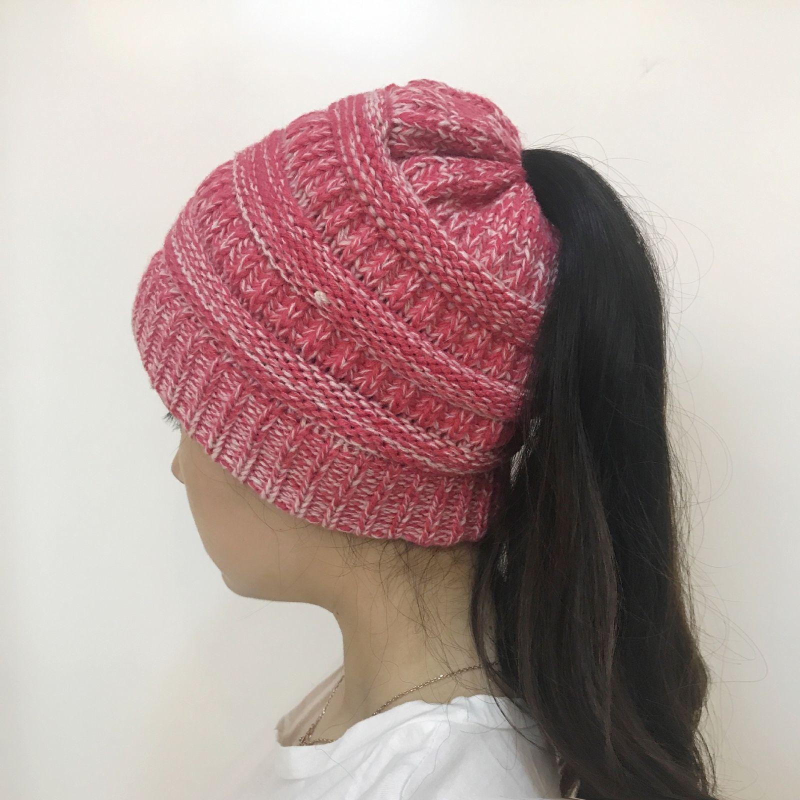 3afd06522da 2017 Winter Women Beanietail Messy High Bun Ponytail Stretchy Knit Beanie  Skull Hats Stylish Hole Hat AU