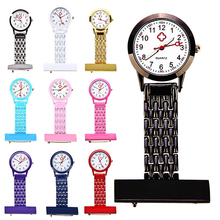 Women's Watch Girl's Stylish Metal Clip-on Pocket Quartz Analog Brooch Medical Nurse Fob Watch Gift