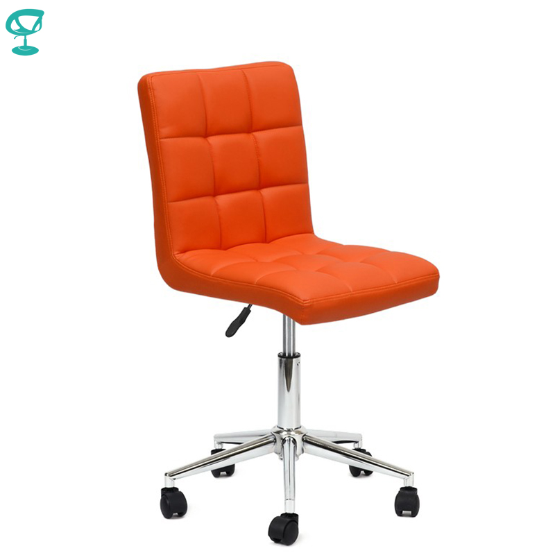 94713 Barneo N-48 Leather Roller Kitchen Chair Swivel Bar Chair Orange Free Shipping In Russia