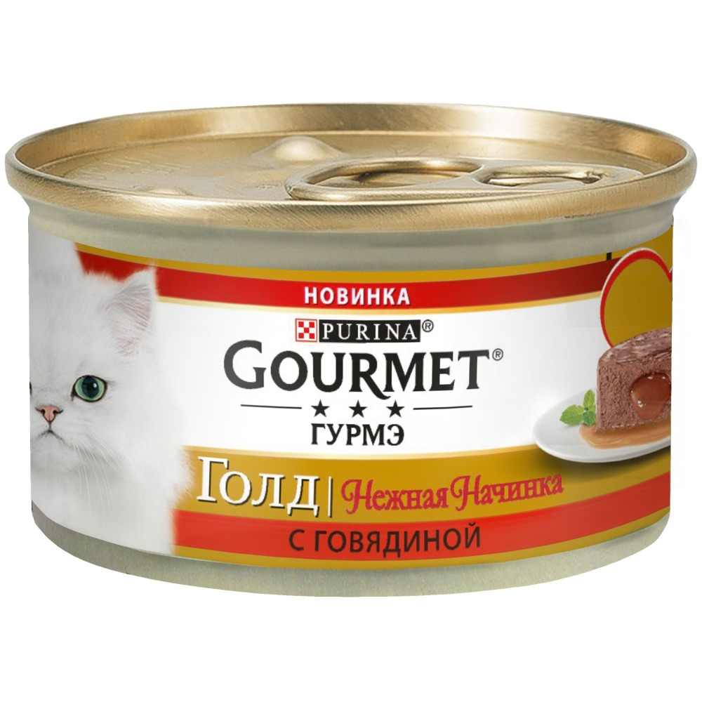 Wet food Gourmet Gold Gentle Filling for cats with beef, bank, 12x85 g
