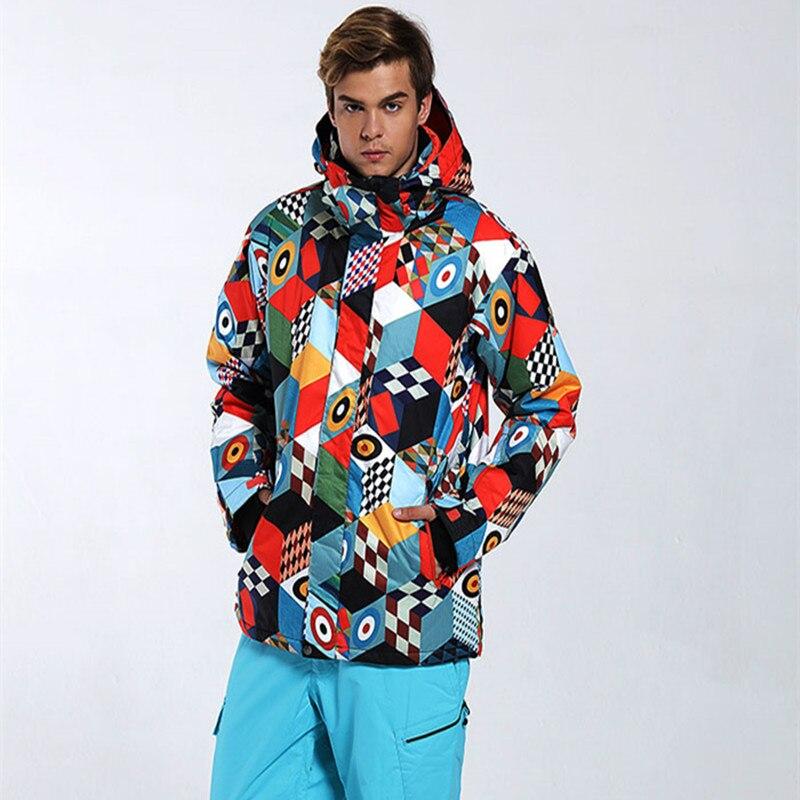 GSOU NEIGE Hommes Veste de Ski Snowboard Veste Coupe-Vent Vêtements D'hiver Imperméable Respirant Ski Veste Mâle Sport En Plein Air Porter