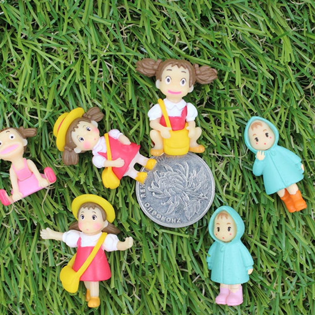 2 PCS Mini Girl Ornaments Fairy Garden Miniature Potted plants Micro Landscape Terrarium Bbonsai Decor Resin Craft Toy Figures
