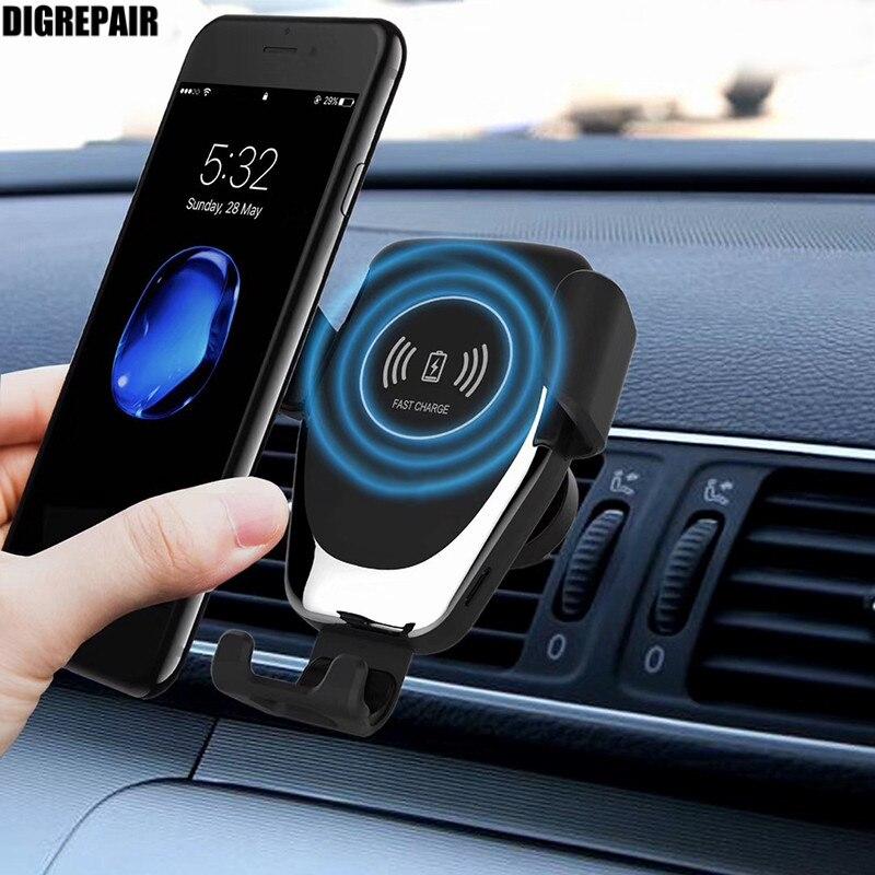 Новый автомобиль крепление Qi Беспроводной Зарядное устройство для iPhone XS Max X XR 8 быстро Беспроводной зарядки Автомобильный держатель телефона для samsung примечание 9 S9 S8