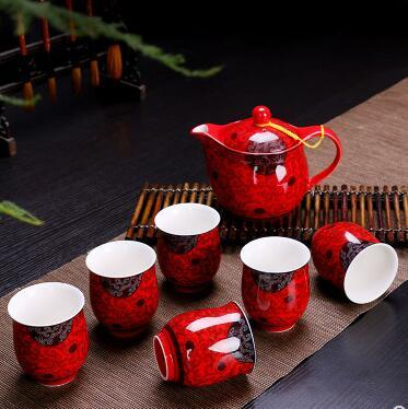 Chinese wedding dowry red marry celebration new tea cup suit pot tea set kettle kung fu ceramic teapot tray teaset giftChinese wedding dowry red marry celebration new tea cup suit pot tea set kettle kung fu ceramic teapot tray teaset gift