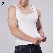 2017 Summer Hot Sale White Cotton Men's Casual Sleeveless Square Neck Exercise Muscle Slim Vest Men's Top