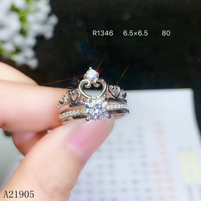 KJJEAXCMY boutique jewelry 925 sterling silver inlaid Mosang diamond gem ladies luxury ring a two wear Send a certificateKJJEAXCMY boutique jewelry 925 sterling silver inlaid Mosang diamond gem ladies luxury ring a two wear Send a certificate