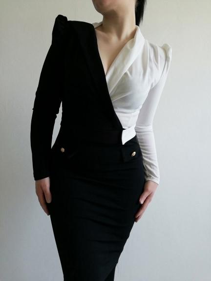 Women Elegant Fashion Office Lady Work Wear Stylish Party Dress Two Tone Metallic Button Midi Bodycon Dress 19 4