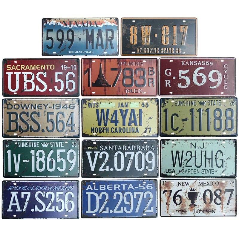 Car Plate Numbers Vintage Metal License Plate Signs Home Decoration Cafe Bar Pub Retro Decor 15x30 cm