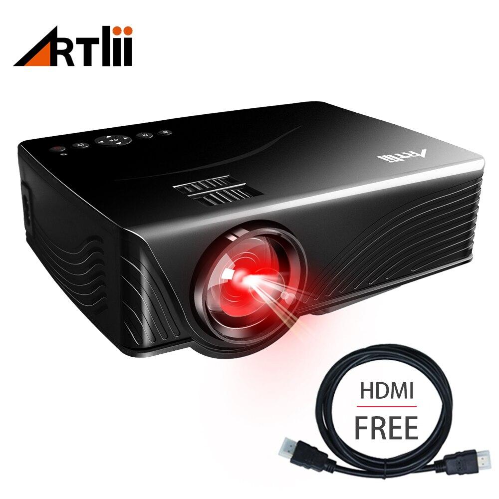 Artlii Mini proyector portátil con Smartphone o portátil, PC vídeo, juegos proyector para cine y partido