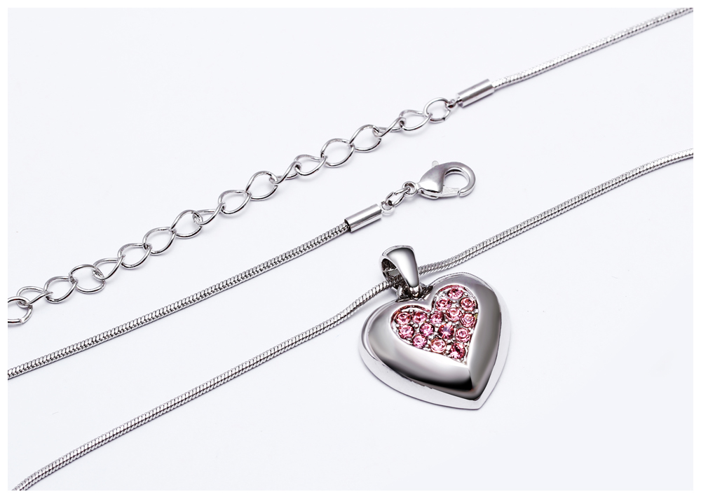 DreamCarnival 1989 Flash Deal Sales Party Jewelry parure Bijoux femme Pink Crystals Heart Pendant Necklace for Women 18N1019 19