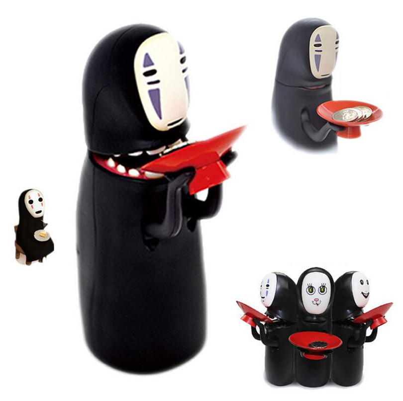 Spirited Away No Face Man Coin Bank spirited away no face piggy bank  Automatic Eaten Swallow Money Saving Box Hiccups Coin Bank no face male piggy bank hiccup sound money coin storage container bins kids toys funny gadgets anime action figure 3 styles