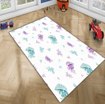 Else Purple Green Floral Leaves Modern Geometric 3d Print Non Slip Microfiber Children Kids Room Decorative Area Rug Mat