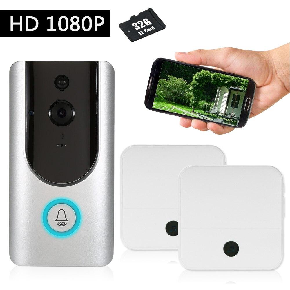 1080P WiFi Wireless Security Doorbell with 8G TF Card Smart Visual Intercom Recording Video Door Phone