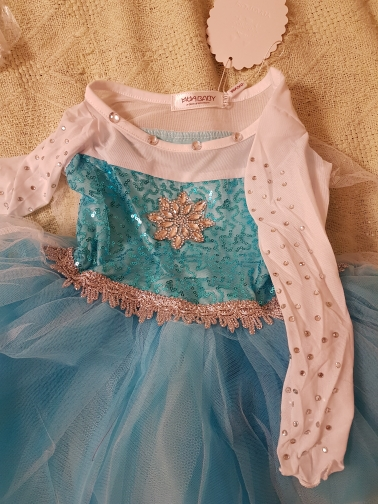 MUABABY Girls Elsa Costume Blue Snow Queen Princess Dress up with Long Train Halloween Christmas Party Sequined Cosplay Fantasy