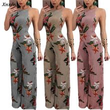 New Women Floral Striped Sexy Backless High Waist Wide Leg Jampsuits Long Pants Trousers Xnxee