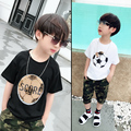 Hot football soccer magic switchable sequins boys T-shirts kid fashion t shirt children tops clothes