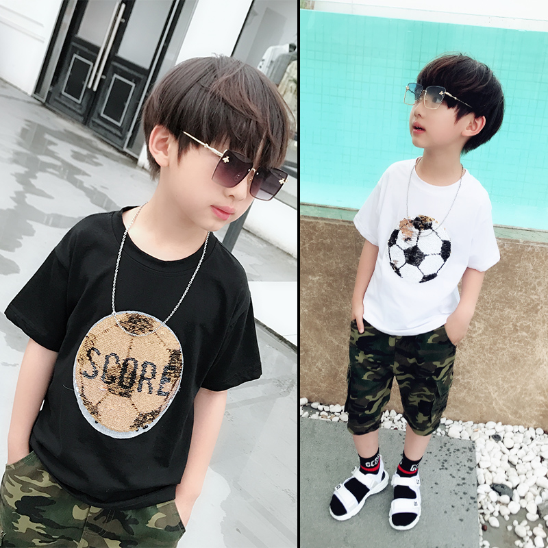цены Hot football soccer magic switchable sequins boys T-shirts kid fashion t shirt children tops clothes
