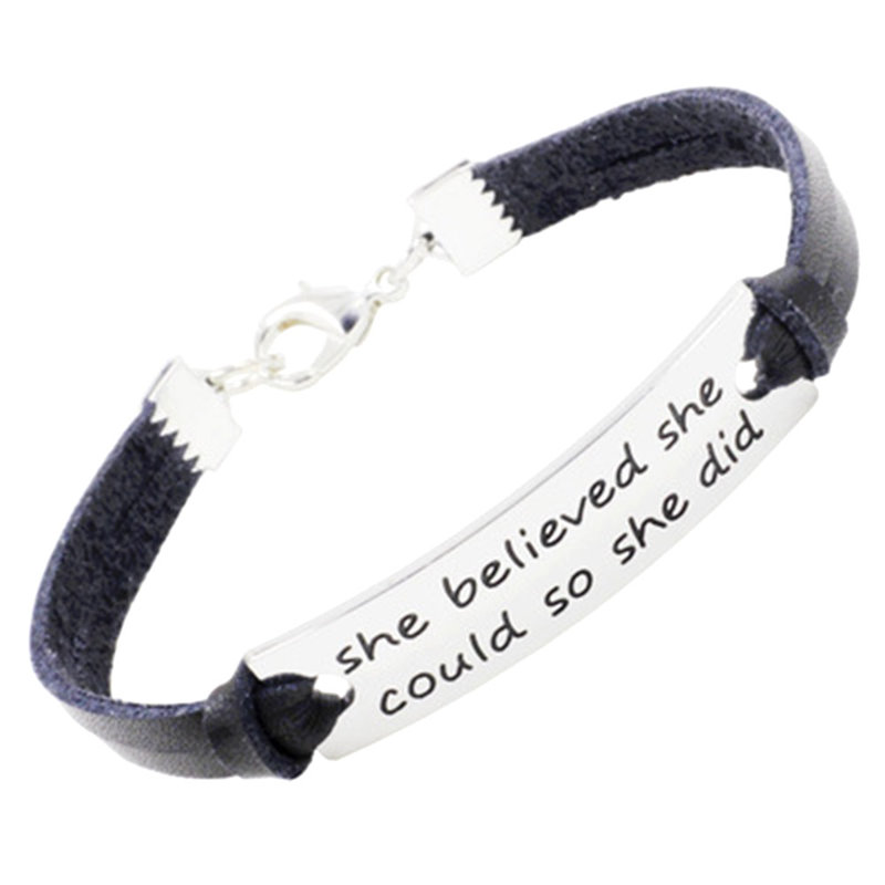2018 New Fashion She Believed She Could So She Did Charm Inspirational Bracelet & Bangles Women Men Leather Jewelry