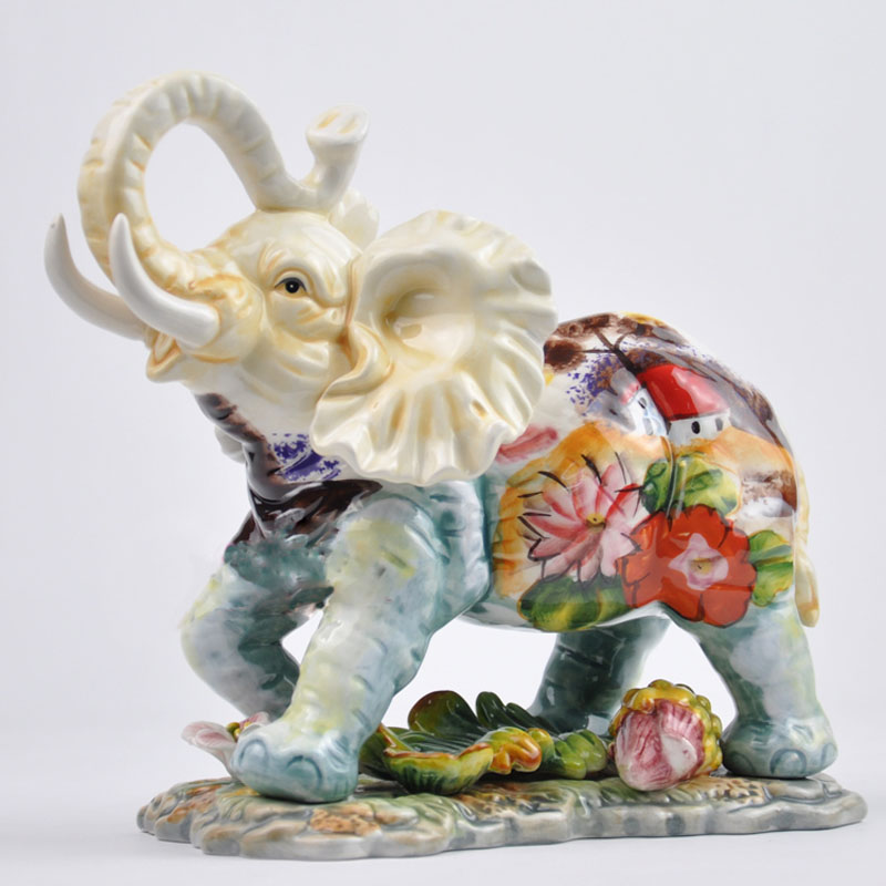 European style hand painted water lily ceramic elephant crafts handicraft ornament porcelain figurines