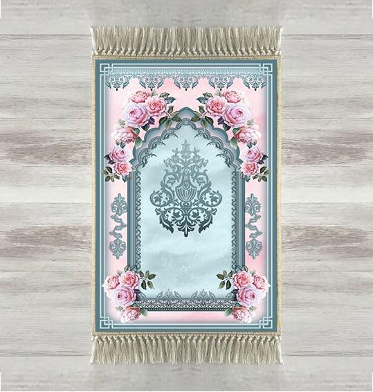 Autre rose bleu Roses ethnique impression 3d turc islamique musulman tapis de prière tassed Anti Slip moderne tapis de prière Ramadan Eid cadeaux
