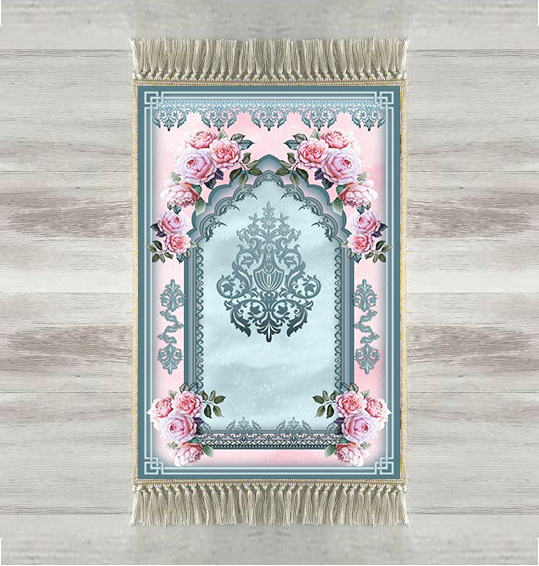 Else Blue Pink Roses Ethnic 3d Print Turkish Islamic Muslim Prayer Rugs Tasseled Anti Slip Modern Prayer Mat Ramadan Eid Gifts