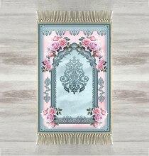 Indziej niebieski różowe róże etniczne 3d druku turecki islamska muzułmanin dywaniki modlitewne Tasseled Anti Slip nowoczesny dywanik modlitewny Ramadan Eid prezenty