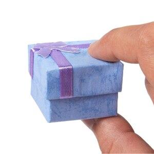 """Image 4 - ריבוע נייר קופסות מתנת תכשיטי 4x4x3 ס""""מ טבעת שחורה/תיבת עגיל תיבת הווה קטן עבור תצוגת אריזת תכשיטי עם הוספה לבנה"""