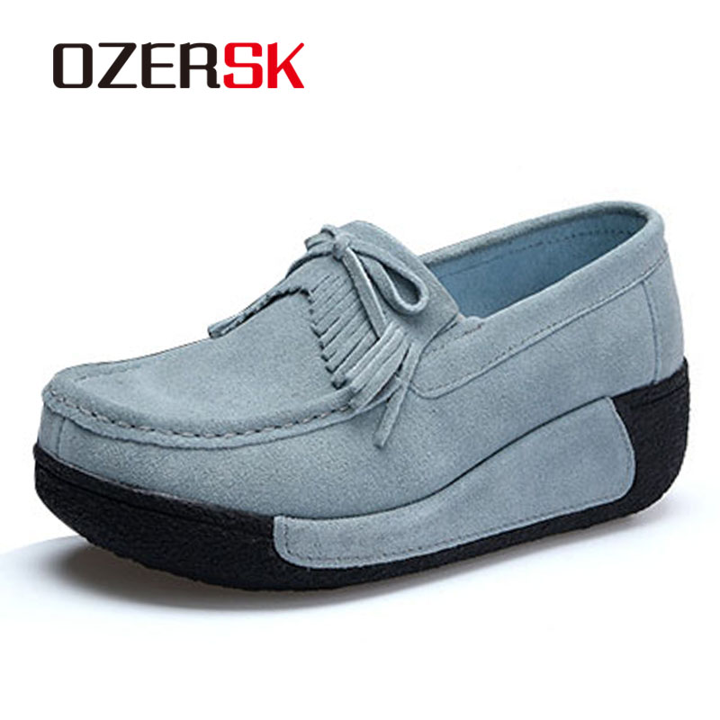 OZERSK Women Flat Platform Loafers Ladies Elegant Suede Moccasins Fringe Shoes Woman Slip On Tassel Moccasin Women's Shoes pinsen women flat platform shoes woman moccasin zapatos mujer platform sandals slip on for ladies shoes casual flats moccasins