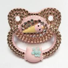 MIYOCAR benzersiz el yapımı bling pembe yetişkin emzik Yetişkin Boyutu Sevimli Mücevher Emzik Kukla ABDL Silikon Meme emzik