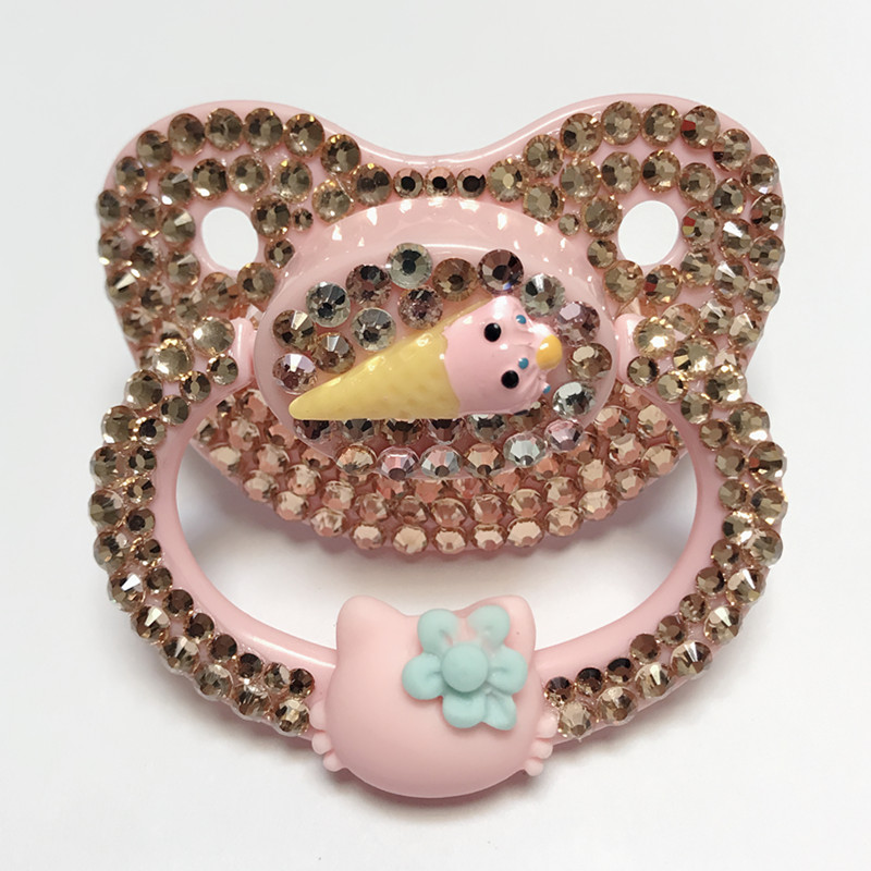 MIYOCAR Unique Handmade Bling Pink Adult Pacifier Adult Sized Cute Gem Pacifier Dummy ABDL Silicone Nipple Pacifier