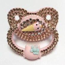 Уникальная блестящая розовая соска MIYOCAR ручной работы для взрослых, соска пустышка для взрослых, милая Соска с драгоценным камнем, пустышка ABDL, силиконовая соска пустышка