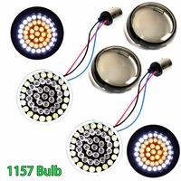 2inch 1157 Bullet White/Amber LED Turn Signal Inserts W/Smoked Lens For Harley Touring Dyna Sportster Softail 2014 2018