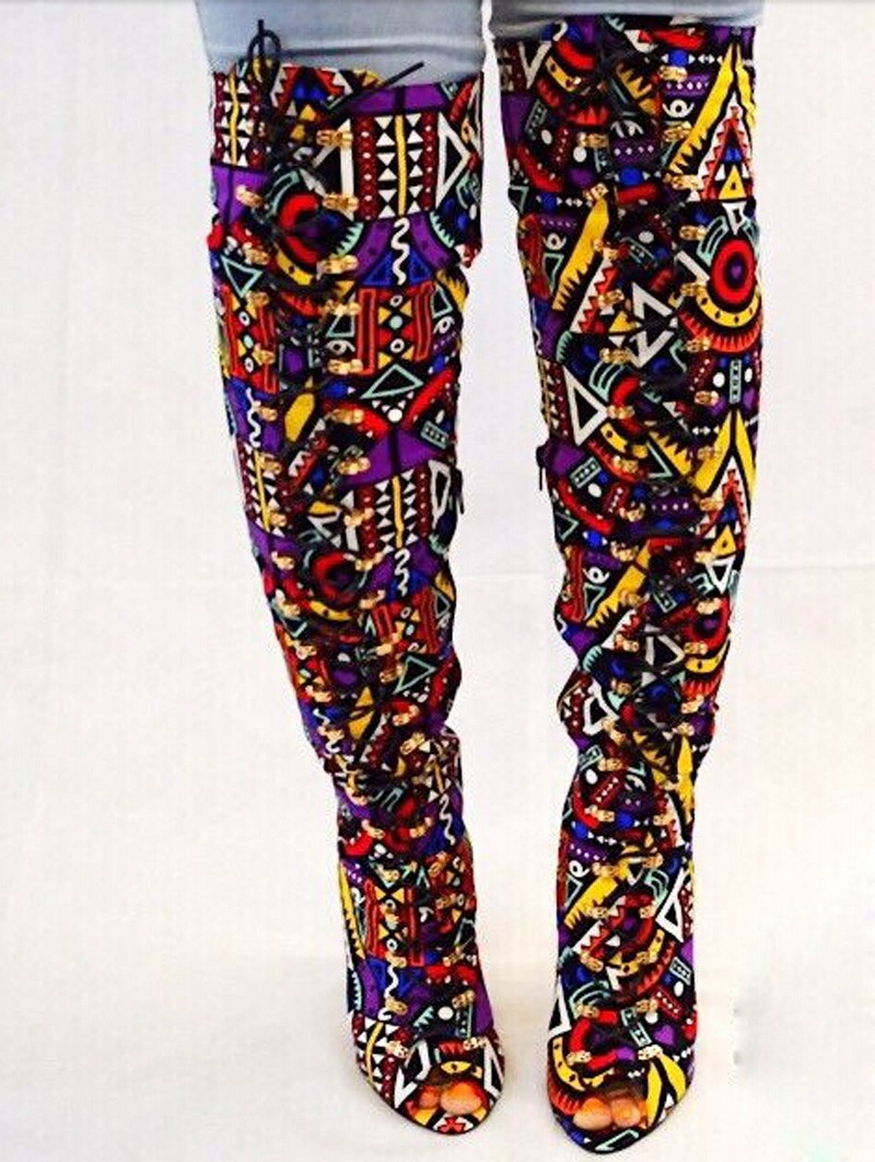 2015-Fashion-Mixed-Colors-Geometric-Printing-Women-Over-Knee-Boots-Lace-Up-High-Heels-Ladies-Sexy (1)