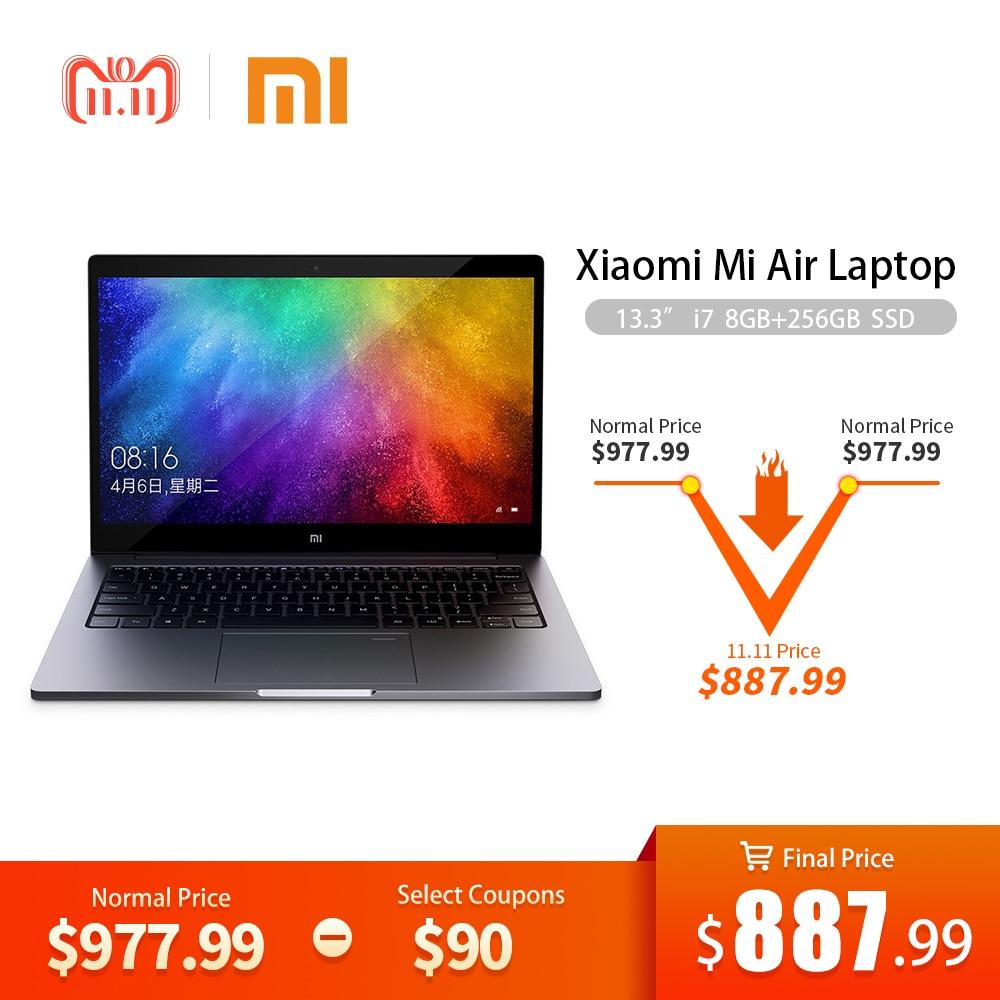 Xiaomi 13,3 ordenador portátil Intel Core i7-8550 Quad Core CPU 8 GB RAM 256 GB SSD 2 GB GDDR5 Ultraslim cuaderno con huella dactilar reconocer