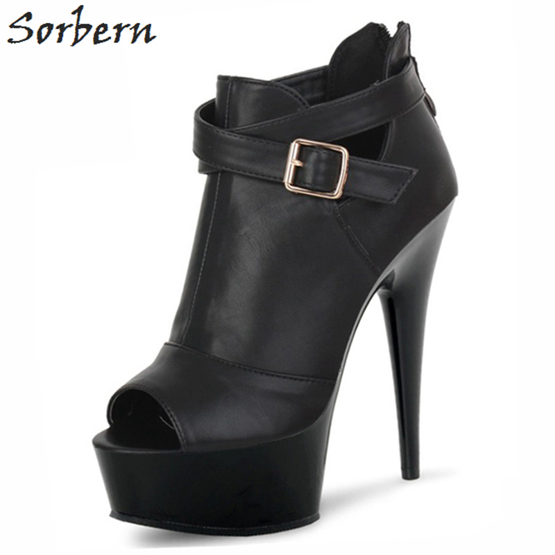 a494fc29b0ec6 Sorbern Black Ankle Boots Open Toe Spike High Heels Ladies Shoes ...