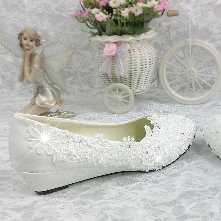 Blanc 3 Cm De Parti Applique Shoes Mariée Coins Mode Sorbern Wedges Main Talons Mariage Chaussures Dentelle Pompes dPqWB7