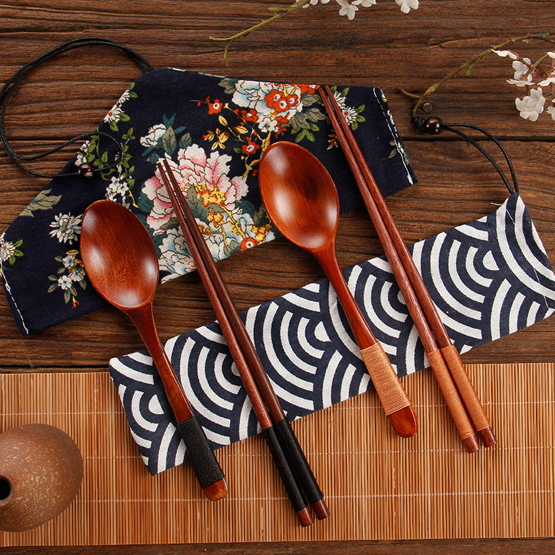 2 pcs/lot Japanese Style Tableware Natural Wood Cloth Packing Set Pack Portable Chinese Dinnerware Sets Travel Portable bag