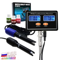 Online PH/EC Conductivity Monitor Meter Tester ATC, Water Quality Real time Continuous Monitoring, Wall Mountable & Rechargeable