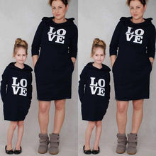 Emmababy Autumn Family Matching Clothes Mather Daughter Clothes Long Sleeve Hooded Sweatshirt Love Printed Long Style Hoodies