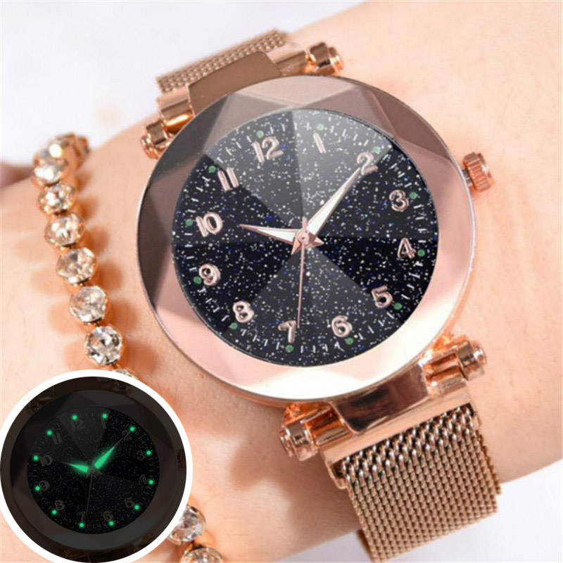 Wrist Watch Women 2018 Fashion Luxury Stainless Steel Magnetic Buckle Strap Refractive Surface Luminous Dial Ladies Quartz Watch