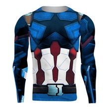 ФОТО avengers 3 captain america 3d printed t shirts men compression shirt 2018 cosplay costume long sleeve tops male crossfit cloth