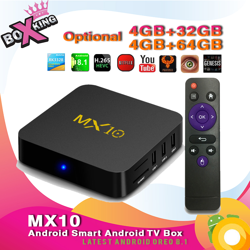 Latest MX10 4GB 32GB / 4GB 64GB tv box Android 8.1 smart tv box Set Top Android TV Box xiaomi mi tv (H96 Max Mx9 Pro Tx28) (p10)