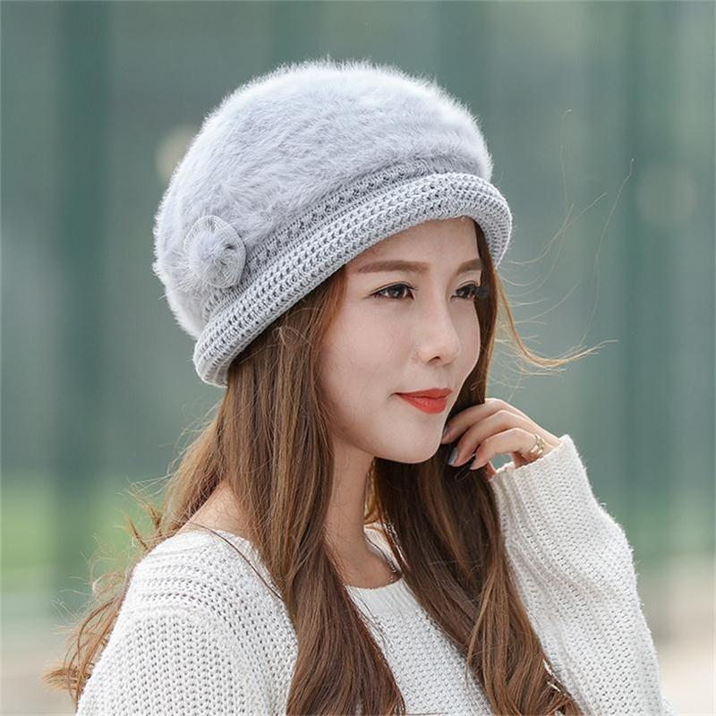 Autumn Winter Women's Warm Hats Wholesale Knitted Rabbit Wool Beanie Female Fashion Skullies Casual Outdoor Thick Hats For Women adult beanie skullies rabbit fur ball shining warm knitted hat autumn winter hats for women
