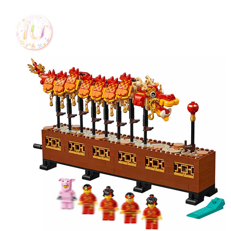 legoings 80102 Chinese New Year's Dragon Dance Set Building Blocks Gifts Toys For Children 652 Pcs Compatible BELA 11140