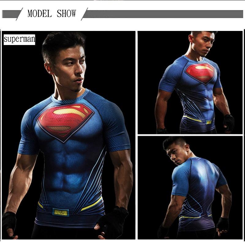 Camiseta fitness compresión Superheroes - Comprar en AliEspress
