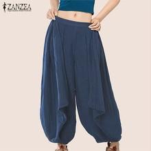 ZANZEA Wide Legs Harem Solid Women Summer Elastic Mid Waist Casual Loose Pants Cotton Long Trousers Baggy Pants Plus Size