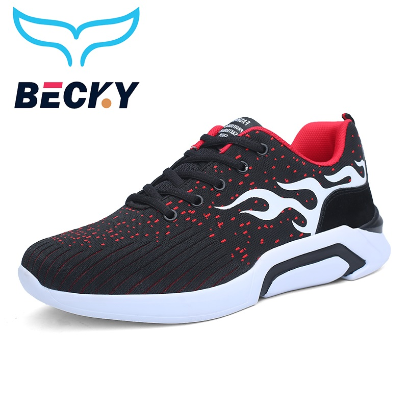 Breathable flying Weaving Mesh Running Shoes Men Light weight Sport Jogging Athletic sneakers fire Graffiti trend walker